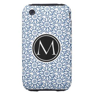 Monogram Classic Blue Sunflower Pattern iPhone 3 Tough Case