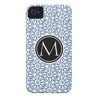 Monogram Classic Blue Sunflower Pattern iPhone 4 Case