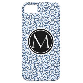 Monogram Classic Blue Sunflower Pattern iPhone 5 Covers