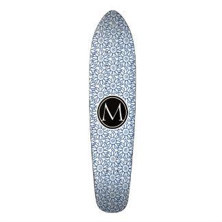 Monogram Classic Blue Sunflower Pattern Skate Deck