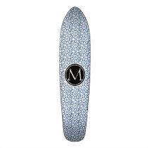 Monogram Classic Blue Sunflower Pattern Skateboard Deck