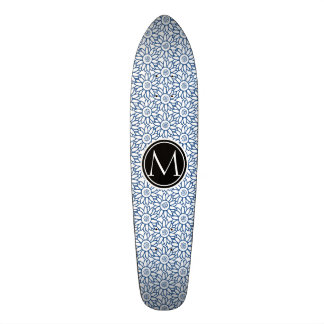 Monogram Classic Blue Sunflower Pattern Skateboard Deck
