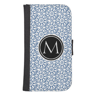 Monogram Classic Blue Sunflower Pattern Wallet Phone Case For Samsung Galaxy S4