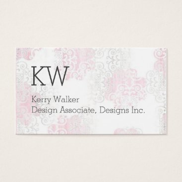Professional Business Monogram Classic Card in Rose/Grey