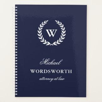 Monogram Classic Elegant Professional Blue Planner