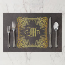 Monogram Classic Gold Frame Antique Leather Fancy Paper Placemat