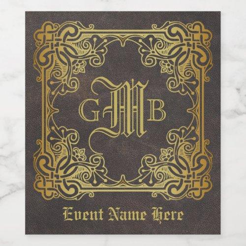 Monogram Classic Gold Frame Antique Leather Fancy Wine Label