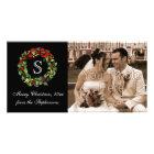 Monogram Classic Holly Wreath Christmas Photo Greeting Card