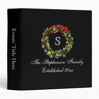 Monogram Classic Holly Wreath Custom Christmas 3 Ring Binders