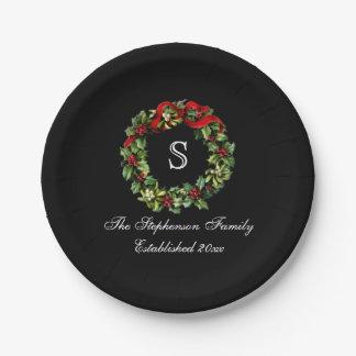 Monogram Classic Holly Wreath Custom Christmas 7 Inch Paper Plate