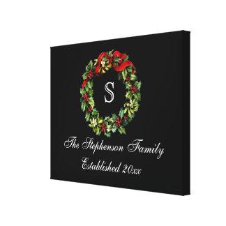 Monogram Classic Holly Wreath Custom Christmas Canvas Print