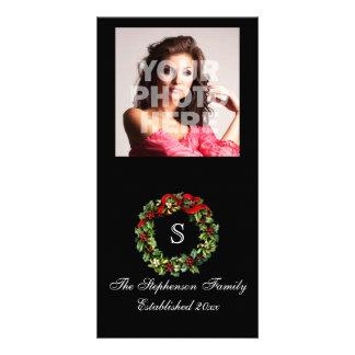 Monogram Classic Holly Wreath Custom Christmas Card