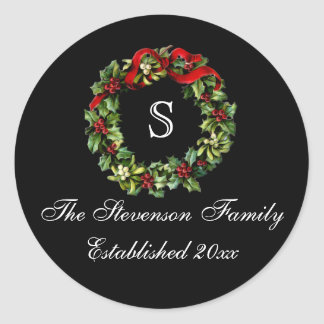 Monogram Classic Holly Wreath Custom Christmas Classic Round Sticker