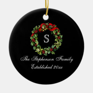 Monogram Classic Holly Wreath Custom Christmas Double-Sided Ceramic Round Christmas Ornament