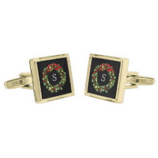 Monogram Classic Holly Wreath Custom Christmas Gold Cufflinks