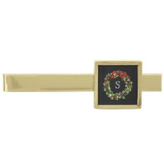 Monogram Classic Holly Wreath Custom Christmas Gold Finish Tie Bar