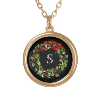 Monogram Classic Holly Wreath Custom Christmas Gold Plated Necklace
