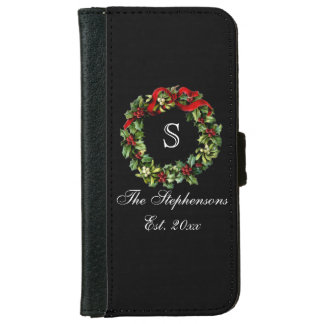 Monogram Classic Holly Wreath Custom Christmas iPhone 6/6s Wallet Case