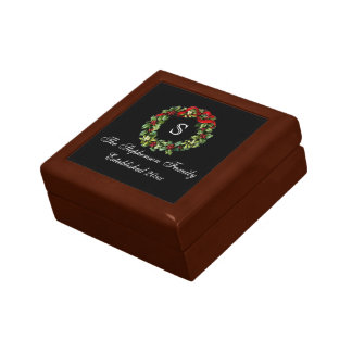 Monogram Classic Holly Wreath Custom Christmas Jewelry Box