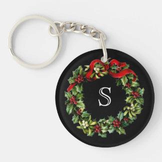 Monogram Classic Holly Wreath Custom Christmas Keychain