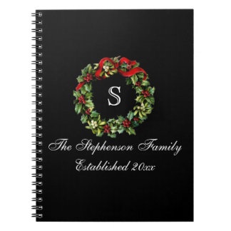 Monogram Classic Holly Wreath Custom Christmas Note Books