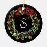 Monogram Classic Holly Wreath Custom Christmas Ornament
