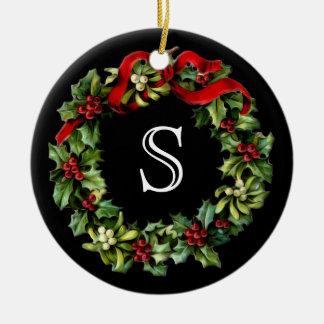 Monogram Classic Holly Wreath Custom Christmas Double-Sided Ceramic Round Christmas Ornament
