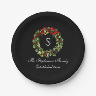 Monogram Classic Holly Wreath Custom Christmas Paper Plate