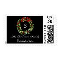 Monogram Classic Holly Wreath Custom Christmas Postage