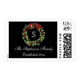 Monogram Classic Holly Wreath Custom Christmas Postage Stamp