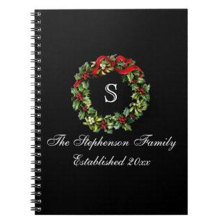 Monogram Classic Holly Wreath Custom Christmas Spiral Notebook