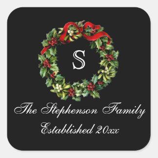 Monogram Classic Holly Wreath Custom Christmas Square Sticker