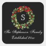 Monogram Classic Holly Wreath Custom Christmas Sticker