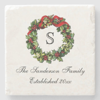 Monogram Classic Holly Wreath Custom Christmas Stone Coaster