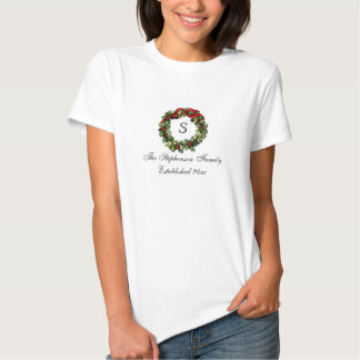 Monogram Classic Holly Wreath Custom Christmas T-shirt