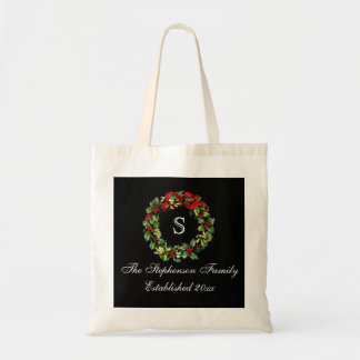 Monogram Classic Holly Wreath Custom Christmas Tote Bag