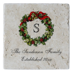 Monogram Classic Holly Wreath Custom Christmas Trivet