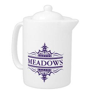 Monogram Classic Navy Blue And White Teapot