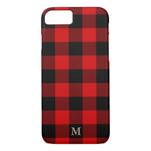 Monogram Classic Plaid Red Black Rustic Lumberjack Phone Case
