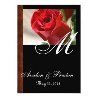 "Monogram Classic Rose & Leather Look Invitation 5"" X 7"" Invitation Card"