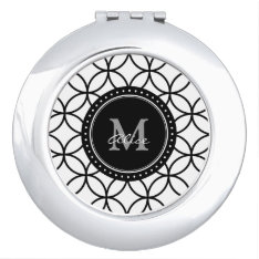 Monogram   Classic White Black Abstract Circles Vanity Mirror at Zazzle