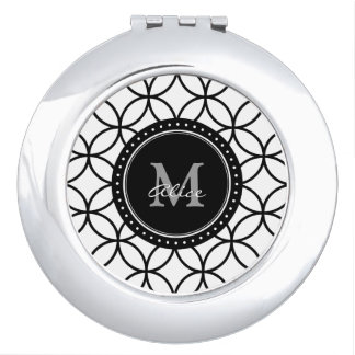 Monogram | Classic White Black Abstract Circles Vanity Mirror