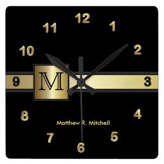 Monogram Classy Balck and Gold  Executive Square Wall Clock