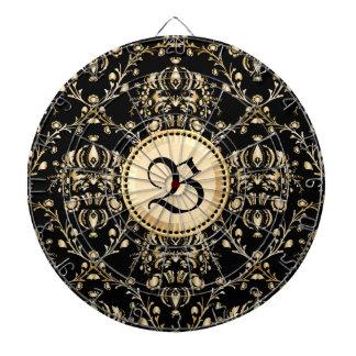 Monogram Classy Elegant Gold Damask Medieval Black Dart Board