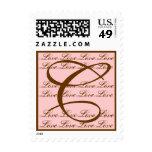 Monogram CLove Stamp Blush Pink & Brown