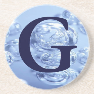 Monogram Coasters ~ Blue Bubbles