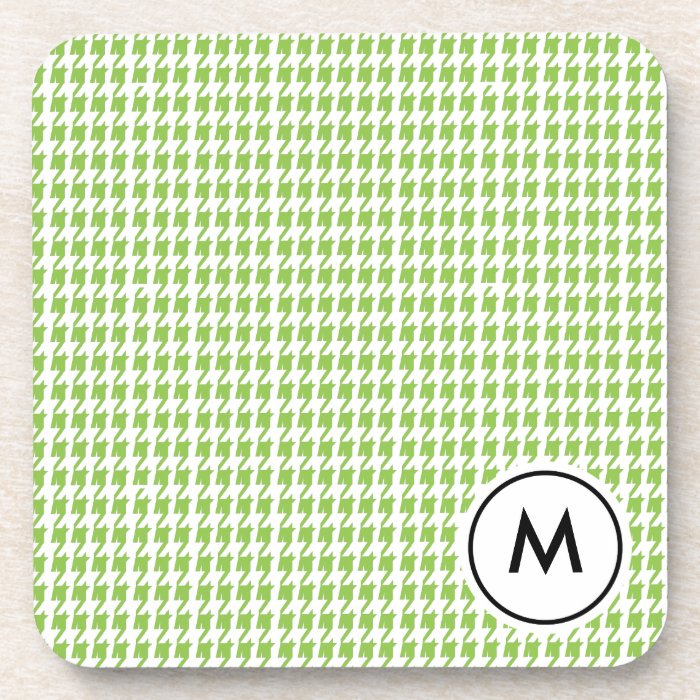 Monogram Coasters  |  Green and White Houndstooth