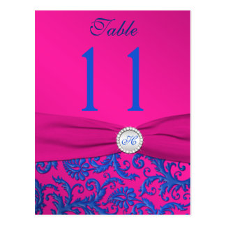 Monogram Cobalt and Fuchsia Damask Table Number Postcard