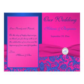 Monogram Cobalt and Fuchsia Damask Wedding Program Personalized Flyer