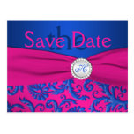 Monogram Cobalt and Fuchsia Save the Date Card Post Card